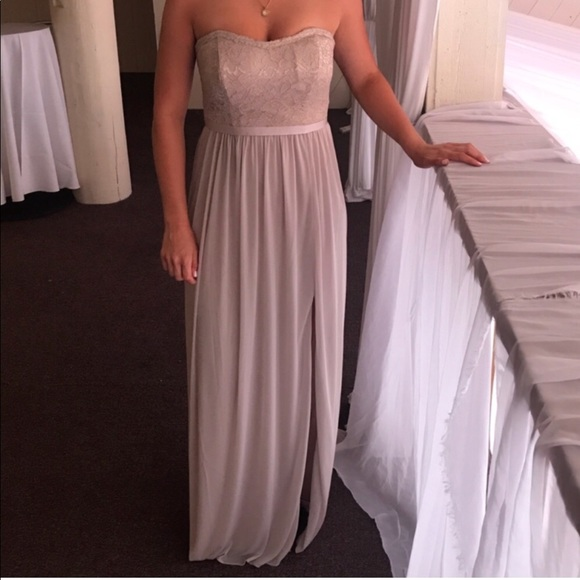 d8b91ea778f14 David's Bridal Dresses & Skirts - Lace and Mesh Long Strapless ...